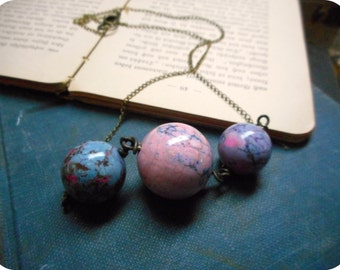 The Triple Moon Goddess Stone Necklace- Candy Jasper spheres in pink, lavender & blue galaxy moons handmade boho necklace
