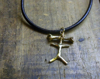 BONE HEAD. Cast solid Golden Brass Bonehead(dunce) stick figure charm. Great gag gift idea.. Faux braided leather cord
