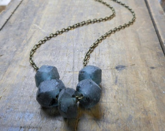 The Harbor Fog Necklace. Recycled hand carved beach glass & rustic brass necklace Gift for her under 25