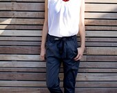 Winter Sale 15% Off!!! Light stone washed denim cotton baggy  black pants with tying