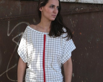 Winter Sale 15% Off!!! Under 50,  Open back checkered white T-shirt , choose your color