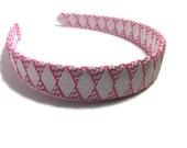 "Hot Pink & White Chevron Stripe 1"" Woven Headband - Handmade Ribbon Braided Headband - Made To Order - White, Pink Headband"
