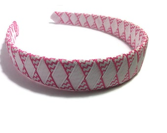 Hot Pink & White Chevron Stripe Woven Headband
