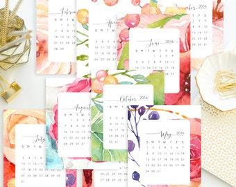 Instant. 4x5 Sept. 2015- Dec. 2016 Watercolor Floral Printable Desk Calendar. Instant Download. 16 months.