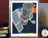Science Poster Art Print Original Illustration - Hubble Space Telescope- Science Poster Print - Stellar Science Series
