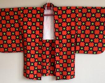 1970s HAORI KIMONO Jacket Boho Japanese Geometric Pattern