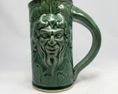 Pan Beer Stein, Teal, Original Design Fantasy Art Mug Sculpted with Classic Gargoyle and Grape Leaves Design, Barware, Tableware, Renfaire