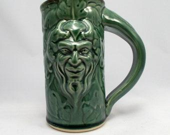 Pan Beer Stein, Green, Original Design Fantasy Art Mug Sculpted with Classic Gargoyle and Grape Leaves Design, Barware, Tableware, Renfaire