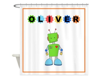 ROBOT PERSONALIZED Kids' Shower Curtain