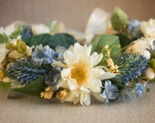 Floral Halo Made to match Well Dressed Wolf Southern Charm Bonnie Blue or Naomi...yellow, blue and cream flowers with greenery