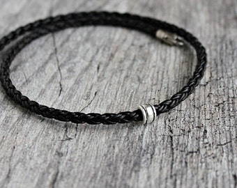 Mens Leather Braid Necklace, Single Silver Bead, Mens Black Leather Necklace