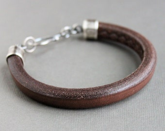 Chocolate Brown Men's Leather Bracelet, Thick Leather Silver Bracelet