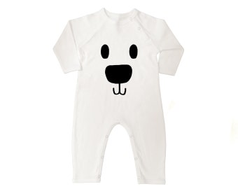 Polar Bear Face Organic Cotton Long Sleeve Baby Coveralls