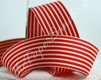 Red & Ivory Striped Ribbon, Wholesale Ribbon, Christmas Ribbon, Gift Wrapping, Sewing, Home Decor, Party Supplies