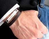 Two sides engraved Sound Wave Bracelet - Double Wrap Leather Bracelet for Men - Custom order