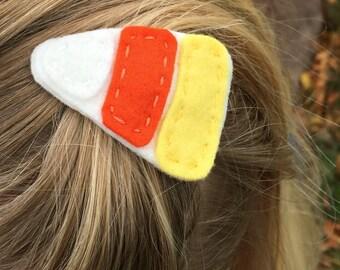 Candy Corn Felt Hair Clip