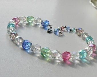 Coro Aurora Borealis Glass Necklace. Choker Style with Assorted Pastel AB Crystal Beads. Bridal Prom Necklace.