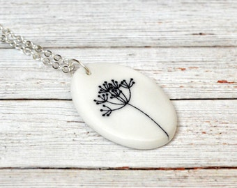 Ceramic pendant necklace, black and white jewelry, ceramic jewellery, gift for her
