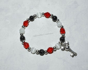 Red, Black & White Minnie Mouse Key Bracelet