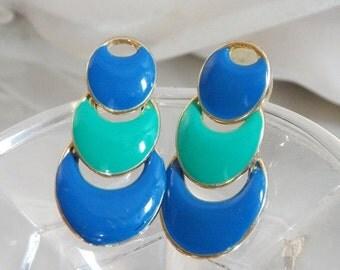 FALL SALE Vintage Mod Earrings. Blue Aqua Green Enamel Pierced Earrings. Hinged Dangling Earrings. TAT.