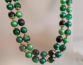 FALL SALE Vintage Long Green  Bead Necklace.  Hong Kong. Two Strand Shades of Green Beaded Necklace.