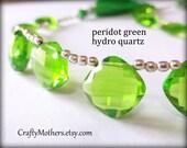 Clearance! PERIDOT GREEN Hydro Quartz Faceted Cushion Briolettes Trio, (1) Matched Pair plus (1) Focal, diy supplies - Reg. 11.50-12.50