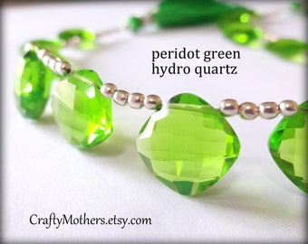 TAKE10 for 10% off! PERIDOT Green Hydro Quartz Faceted Cushion Briolettes, Choose a Focal Bead or Matched Earring Pair or Both
