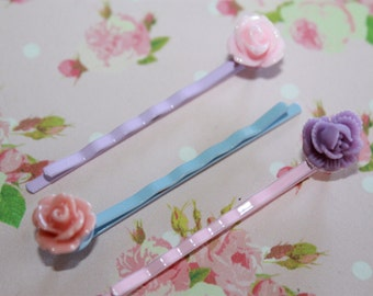 Rose Bobby pins, set of THREE, perfect for summer hair!
