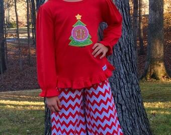 Christmas Holiday Girls Baby Girls Clothing Monogrammed ChristmasTree Ruffle Pant Set 6 mth to Girls size 8
