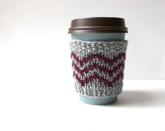Wool Cup Cozy, Knitted Cup Sleeve, Coffee Cozy Chevron, Fall Gift, Maroon Cup Sleeve, Reusable Drink Cover, Hipster Coffee Cozy