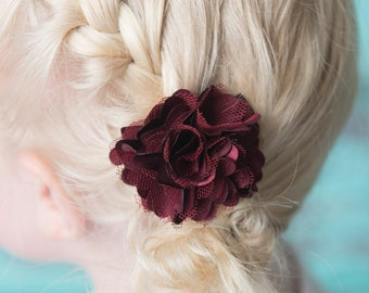 Burgundy hair clip, piggy tail hair, flower hair accessory, girl birthday gift, cake smash outfit, toddler hair clips, baby shower gift, red