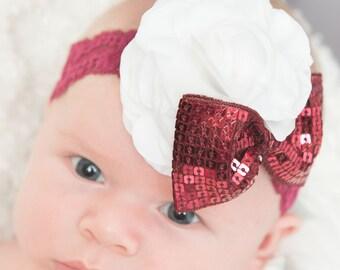burgundy elastic headband, chirstmas headband, white headband, maroon headband, baby headband, flower headband, womens headband, hair bow