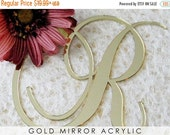ON SALE Gold Wedding Cake Topper, Cake Letter Initial in Gold Mirror Acrylic for Wedding Cake