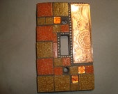 MOSAIC LIGHT SWITCH Plate Cover - Single,  Wall Plate, Home Decor, Copper, Tan, Pumpkin