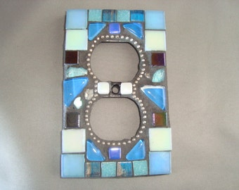 MOSAIC Electrical Outlet COVER, Shades of Blue, Plug, Wall Art