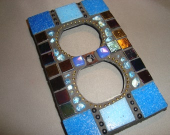 MOSAIC Electrical Outlet COVER , Wall Plate, Wall Art, Shades of Blue, Iridescent Black
