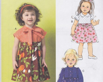 Butterick Pattern B5912 Sweet Dresses with Raised Waist, Full Skirt, Collar & Sleeve Variations Toddler's Sizes 1-2-3-4