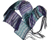 Handwoven Handspun Scarf, Greens and Purples Scarf against black