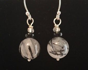 Tourmalated Quartz Drop Earrings, Sterling Silver Earrings
