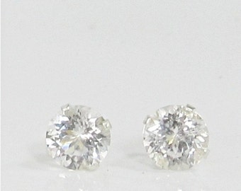 Danburite 6mm Sterling Silver Stud Gemstone Earrings