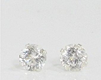 Danburite 6mm Sterling Silver Stud Gemstone Earrings