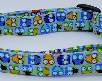 Awesome Hoot Owls on Blue Dog Collar