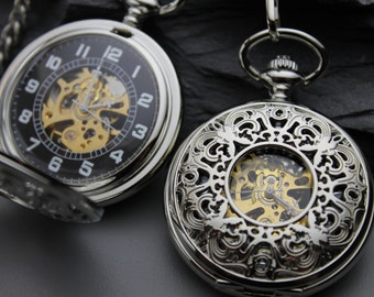 Silver Pocket Watch - Mechanical Pocket Watch - Pocket Watch Chain - Engravable - Victorian Steampunk - Groomsmen Gift - Item MPW31