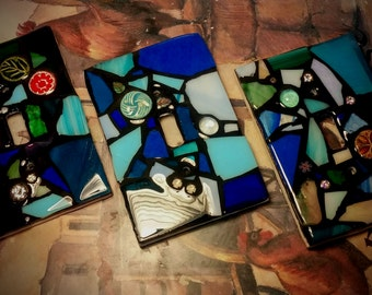 BLUE Mix Colors - STAINED Glass MOSAIC Light Switch Cover - single, double, triple, outlet, or decora gfci - Made to order