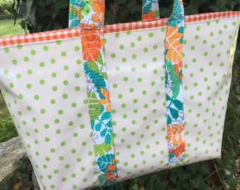 Large  oilcloth tote bag with green polka dots and orange gingham