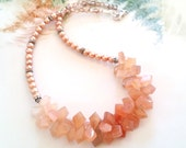 Shaded Peach Moonstone Briolette and Freshwater Pearl Bib Necklace