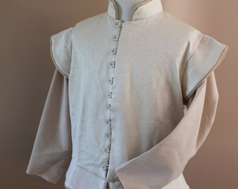 "Chest 52"" Ivory Cream Tudor Renaissance Medieval Mens Lords Doublet Game of Thrones"