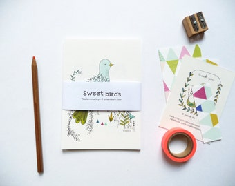 12 cards, Sweet birds illustration art print cards, decor for the home, kids room, postcards,  Idea for a thanksgiving gift