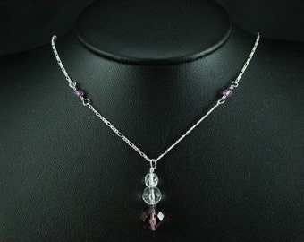Sterling Silver & Purple Necklace  - Purple Pendant Necklace - Sterling Silver Chain Necklace SA126