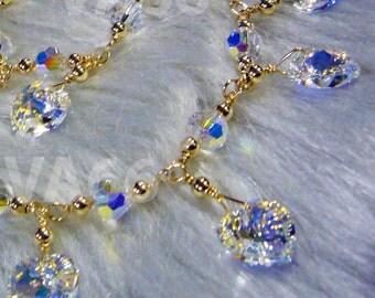 14K Gold Swarovski Bridal Charm Anklet Love Heart Custom Colors Bridesmaids, MOB, Flower Girl, Prom Body Jewelry, Plus Size, Beach Wedding